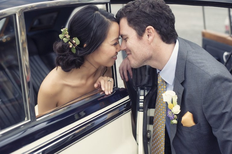 Classic car Paris wedding