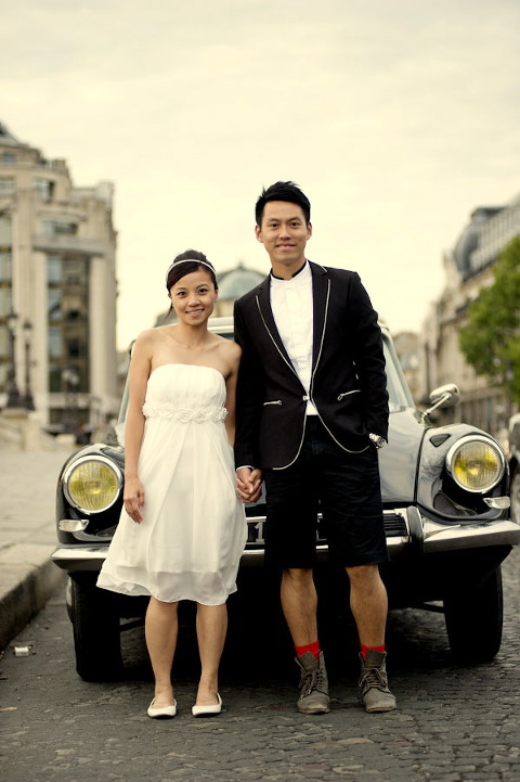paris classic car wedding paris