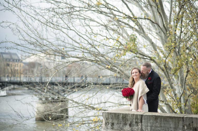 Paris romantic wedding seine river